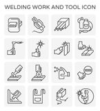 Welding work icon. Welding work and tool icon set Royalty Free Stock Photography
