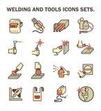 Welding work icon. Welding work and welding tools vector icon sets Stock Image