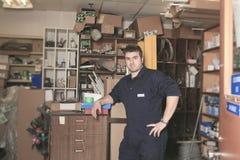 Welding worker in his maintenance shop Stock Photos