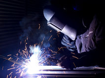 Welding. On the workplace. Construction and manufacturing Royalty Free Stock Photos
