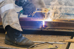 Welding works  on city streets Royalty Free Stock Photography