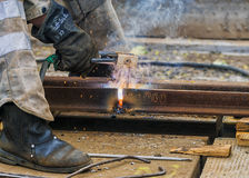 Welding works  on city streets Stock Image