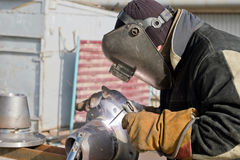 Welding works on manufacturing of units and parts of pipelines Stock Image
