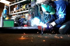 Welding in the workshop. Welder in work with welding in the workshop Stock Images