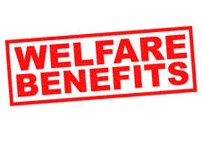 WELFARE BENEFITS. Red Rubber Stamp over a white background Stock Image