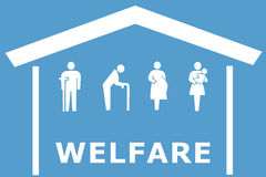 Welfare concept on blue background. With home and old man, disabled, pregnant and women with baby vector illustration
