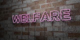 WELFARE - Glowing Neon Sign on stonework wall - 3D rendered royalty free stock illustration. Can be used for online banner ads and direct mailers royalty free illustration
