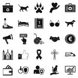 Welfare icons set, simple style Stock Image