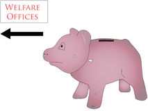 Welfare Office. Piggy bank visiting welfare office Royalty Free Stock Photography
