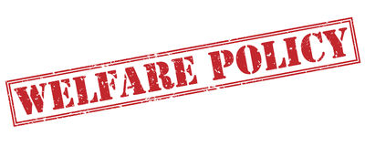 Welfare policy red stamp Stock Image