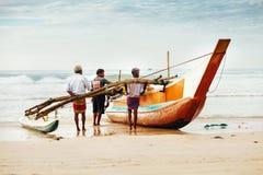 "Weligama, Sri Lanka-†""am 21. Dezember 2017: Fischerdruck Lizenzfreies Stockbild"