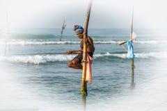 WELIGAMA, SRI LANKA - JANUARY 11 2017: Unidentified local fisher Royalty Free Stock Images