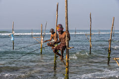WELIGAMA, SRI LANKA - JANUARY 11 2017: Unidentified local fisher Stock Photo