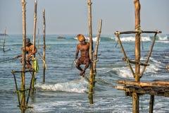 WELIGAMA, SRI LANKA - JANUARY 11 2017: Unidentified local fisher Stock Image