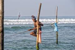 WELIGAMA, SRI LANKA - JANUARY 11 2017: Unidentified local fisher Royalty Free Stock Photo