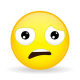 Welke emoji Schokemotie Wtf emoticon De stijl van het beeldverhaal Het vectorpictogram van de illustratieglimlach Stock Foto