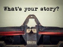 Welke ` s uw close-up van de verhaal uitstekende schrijfmachine stock foto