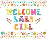 Welkom babymeisje De Aankomstkaart van het babymeisje Stock Afbeeldingen