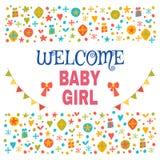 Welkom babymeisje De douchekaart van het babymeisje De aankomstpost van het babymeisje Stock Afbeelding