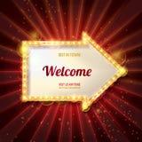 Welkom banner gloeiende pijl vector illustratie