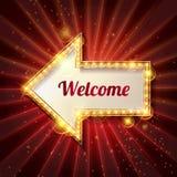 Welkom banner gloeiende pijl royalty-vrije illustratie