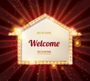 Welkom banner gloeiende pijl stock illustratie