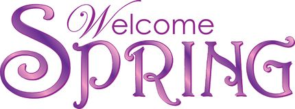 Welkom de Lentetekst in Purple en Roze stock illustratie