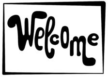 Welkom het van letters voorzien inschrijving Zwarte vectorbrieven op witte achtergrond Speels handschrift voor deuringang stock illustratie