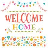 Welkom huistekst met kleurrijke ontwerpelementen Decoratieve lett stock illustratie