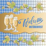 Welkom Oktoberfestinschrijving, takken van hop en bier vector illustratie