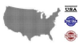 Welkom Samenstelling van Halftone Kaart van de V.S. en Gekraste Zegels stock illustratie