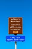 Welkom teken in Hoek-bestelwagen Holland Netherlands Stock Afbeeldingen