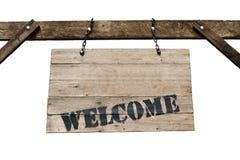 Welkom teken op oud houten uithangbord met kettingen in witte backgr Stock Afbeelding