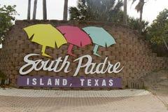 Welkom teken voor het Eiland van de Zuidenaalmoezenier, Texas Stock Foto's