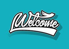 welkom van letters voorziend teken, handrawn logotype, vectorillustratie voor sticker, t-shirtdruk, banner, Web stock afbeelding