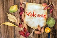 Welkom woord met de herfstthema stock foto