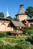 The well in the apothecary garden of the Saviour Monastery of St. Euthymius, Russia, Suzdal stock photos