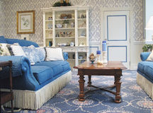 Well Appointed Living Room. Interior shot of a sitting or living room decorated in a southern style stock images