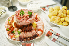 Well arranged Cold cuts,Meat delicatessen Stock Photos