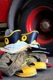 Well będący ubranym strażaków buty Obraz Royalty Free