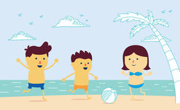 Well being with play ball on the beach. Family be have father, mother and son  in cartoon version and mix a drawing style vector illustration