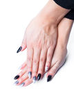 Well cared woman's hands on white with well painted fingernails Royalty Free Stock Photography