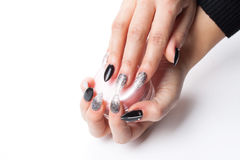 Well cared woman's hands on white with well painted fingernails Royalty Free Stock Image