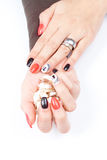 Well cared woman's hands on white with well painted fingernails Royalty Free Stock Photos