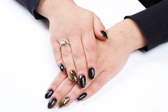 Well cared woman's hands on white with well painted fingernails Stock Photography