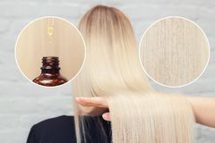 Well clean hair blond girl close-up. Concept care and nutrition with oil behind head.  stock image