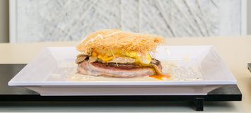 Well cocked sandwich with meet, eggs, cheese with pasta on top Royalty Free Stock Image