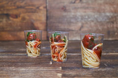 Well-cooked delicious spaghetti with meat stewed in tomato sauce Royalty Free Stock Photo
