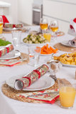 Well decorated christmas dinner table Royalty Free Stock Photos
