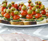 Well decorated food, canapes, cold,cuts, buffet Stock Photos